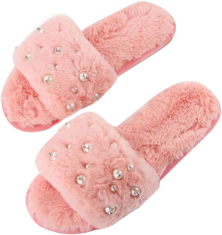 NOMIMAS Winter Fluffy Slipper for Women Open Toe Plush Anti Slip Flip Flops Pearl String Bead Warm Fashion shoes