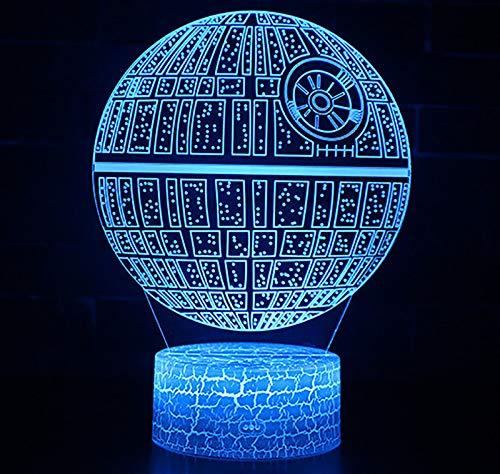 N\P Luz De Noche 3D, Lámpara De Mesa LED Star Wars Death Star, Luz LED De Ilusión óPtica 3D, para Decoración del Hogar Decoración De Dormitorio De Adolescente Chico Decoración De Habitación Cambio de