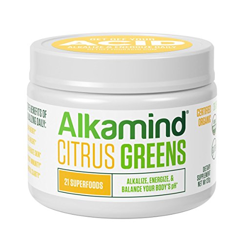 Alkamind Daily Greens - GET Off Your Acid with 21 Superfoods to Alkalize & Energize & Balance pH (Citrus - Raw Dehydrated Greens)
