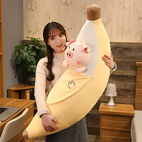 N / A Agradable Huggable Cute Soft Plush Fruits Toy Yellow Banana Plush Plants Toys Banana Pillows For Home Bed Baby Kids Birthday Gifts 60cm