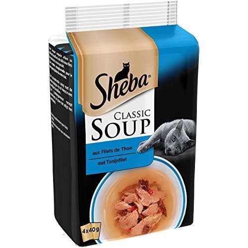 Sheba Classic Soup pour chat adulte – Soupe aux filets de thon – Sachets fraîcheur 48 x 40g