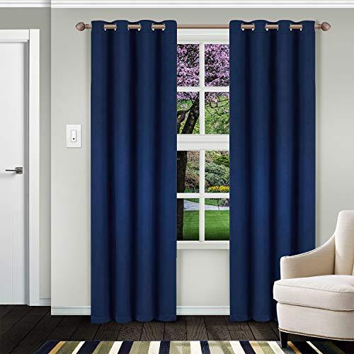Superior - Juego de 2 paneles de cortina con ojales térmicos, color negro, Moderno, Azul marino, 52' x 63', 1, 1