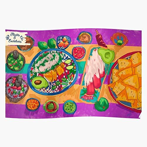 US201PT Nachos Enchiladas Mexican Mexico Food Sauces Flutes Culture for Home Decor Wall Art Print Poster