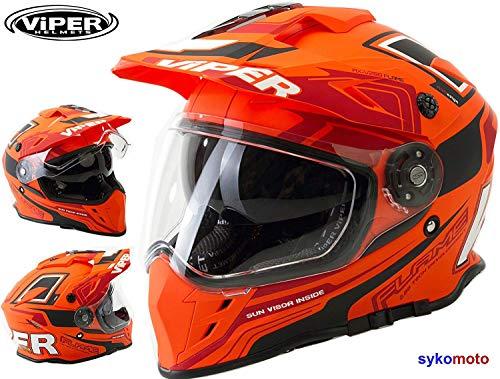VIPER RX-V288 DUAL SPORT BIKE DUAL VISIER ENDURO MOTORRAD HELM FLAME ORANGE (M)
