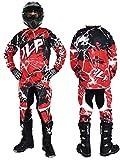Tenue Enfant 10-12 Ans Moto Cross Quad VTT BMX MTB Pantalon Gants Maillot Rouge JLP Racing Taille 26US / XL