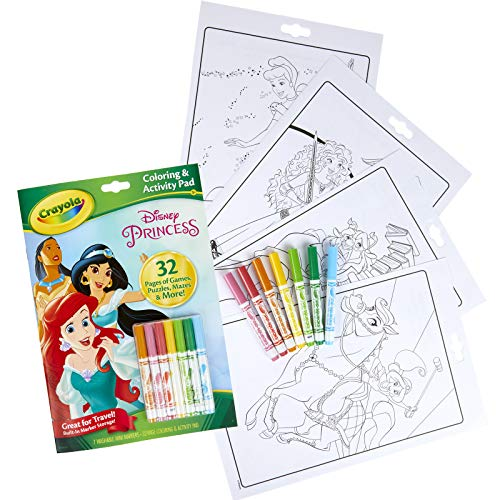 Crayola Disney Princess Color & Activity Book, 32 Coloring Pages & 7 Mini Markers, Gift for Kids, Packaging May Vary