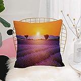 Purer Weicher Kissenbezug Kissenhülle Set,Lavendel, idyllische Sommer Sonnenuntergang Landschaft...
