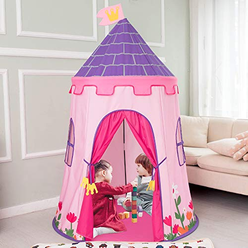 WOLF WALKER Princess Castle Play Tent, Kids Camping Play Tool, Children Foldable Pop Up Play Tent, Playhouse for Kids Outdoor/Indoor, with Carry Bag