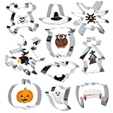 Halloween Cookie Cutter 10 Set - Flying Witch,Owl Pumpkin,Bat,Spider,Pilgrim Hat,Zombie Teeth,Haunted House,Ghost, Skull,DIY Molds for Kids Birthday Party Decorations Dinner Festival Thanksgiving