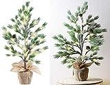 Britesta Weihnachtsbäume: Deko-Nadelbäumchen im Topf, mit 24 LEDs, Kunstschnee und Zapfen, 70 cm (Tisch Lichter-Baum)