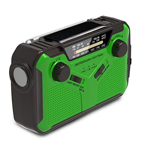 FHCSAO Radio Solar,Múltiples Funcionas Radio Portátil De Emergencia, Radio con Am/FM/WB,Linterna LED, Lámpara De Lectura para Senderismo Y Exteriores,Green