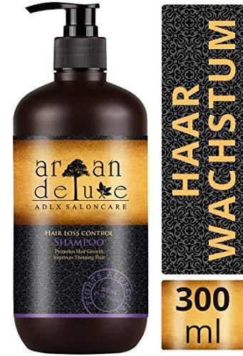 Argan Deluxe Haarwachstums-Shampoo in Friseur-Qualität 300 ml - TESTURTEIL SEHR GUT - effektive Hilfe gegen Haarausfall - für kräftiges Haar & mehr Volumen - für Frauen und Männer