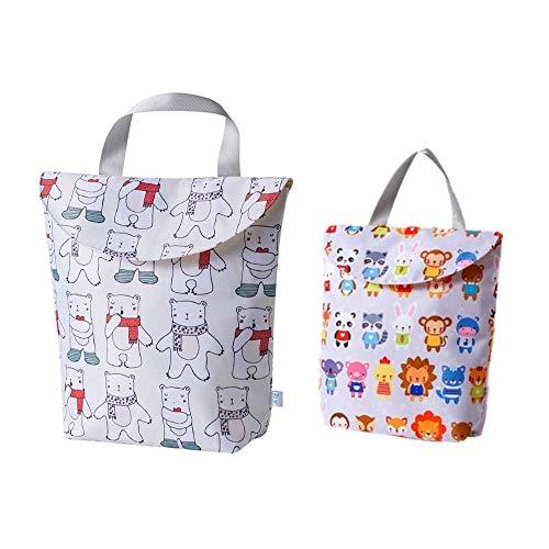 Windeltasche,2 Stück Windeltasche für Unterwegs Multifunktionale Wasserdichte Wickeltasche für Babys, Wiederverwendbar Wetbag