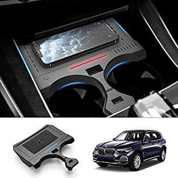 FIILINES Wireless Car Charger Fit for BMW X5 G05 2019-2021 2022 15W Faster Charging with USB Port Wireless Smart Phone Charging Pad