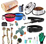 AONESY Puppy Starter Kit 24 Pieces Dog Accessories Puppy Essential Pack Including Dog toys/Dog Blankets/Puppy Training Supplies/Dog Grooming Tool/Dog Leashes Accessories/Feeding & Watering Supplies