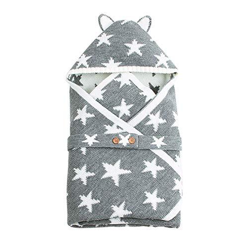 Lefu Newborn Wrap Swaddle Baby Kapuzen-Knopfdecke Knit Schlafsack 0-12 Monate Grau, kleiner Stern
