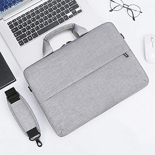Men's and Women's Clamshell Laptop and Tablet Shoulder Bags, Business Bag briefcases with Handles, specifically Designed to Hold 15-15.6 inches, black-15.6in_Light_Gray