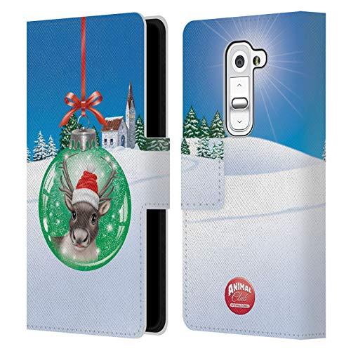 Head Case Designs Ufficiale Animal Club International Renna Palle Natalizie Cover in Pelle a Portafoglio Compatibile con LG G2 Mini / D618 Dual SIM
