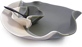 Contemporary Twist Chip and Dip Tray Dish in Grey White, Handmade Pottery