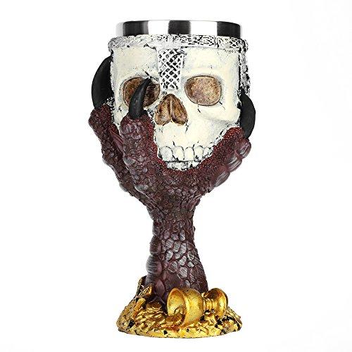 Boccale da birra in acciaio inox con teschio in stile gotico, con scheletro 3D, calice in resina, ideale come regalo per feste, bar, Halloween, Natale, compleanno., Red Talons, 21x11.5x11.5cm