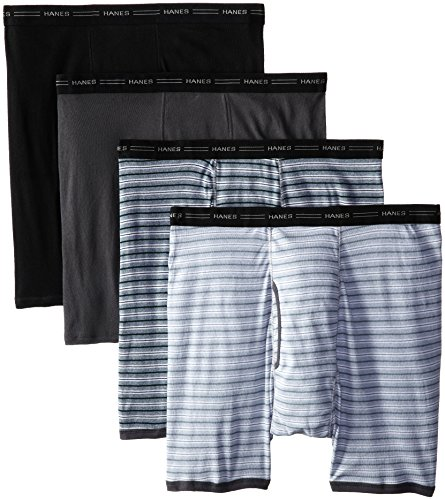 Hanes Men's 4-Pack Big No Ride Up Striped Boxer Briefs, Assorted Stripe, XX-Large
