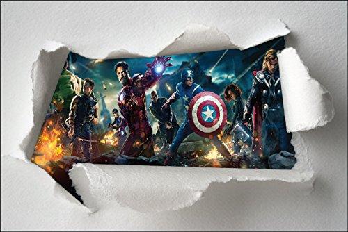 Stickersnews 7631 - Adesivi per bambini, stile carta strappata, dimensioni: 120 x 80 cm, motivo: Avengers