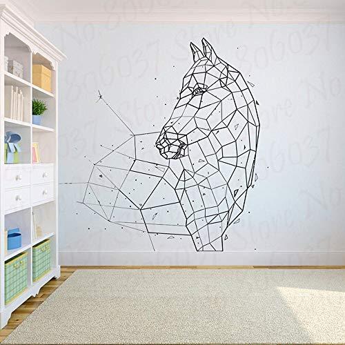 wZUN Arte geométrico decoración de la Pared Caballo Abstracto Pegatinas de Pared Pegatinas de Animales diseño del hogar Oficina polígono Mural 42X49cm