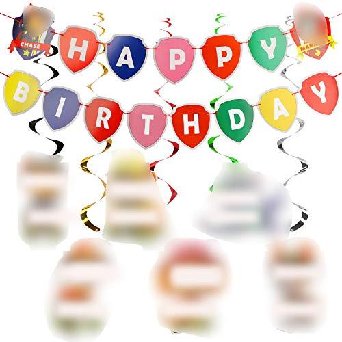 YNK Decoracións de Cumpleaños, Paw Dog Patrol Cake Topper Feliz Cumpleaños...
