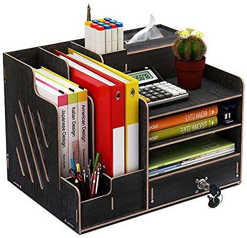 Queta Organizer da Scrivania in Legno, Archiviazione Multifunzione per Ufficio, Organizzatore da Scrivania per Documenti A4, Libri, Cancelleria, Quaderni, File (Portaoggetti da scrivania),