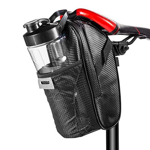 Koopan Satteltasche reflektierend, Flaschenhalter für Fahrrad, wasserdichte Fahrradsatteltaschen geeignet für Mountainbike, Rennrad