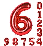 誕生日パーティー赤い風船0-9 ゼロナイン 40インチの数字Mylarのアラビア数字の装飾6