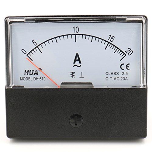 Heschen - Misuratore di corrente rettangolare con montaggio a pannello, amperometro DH-670 AC 0-20A, classe 2.5 CE