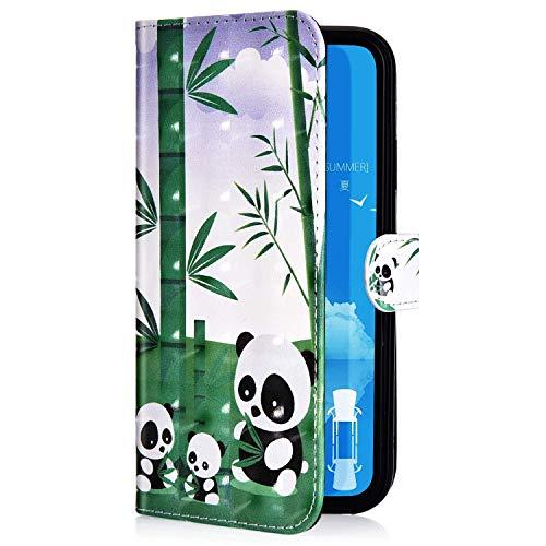 Compatible con Samsung Galaxy S7 Funda Piel PU Cuero,Billetera Flip Libro Tapa Purpurina Glitter Brillante Carcasa Multifuncion Soporte Función,Cierre Magnético,Ranura tarjetas Funda,Panda Bambú