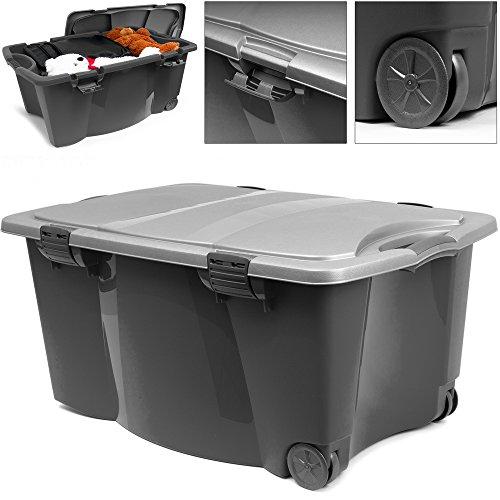 Aufbewahrungsbox Kunststoffbox Spielzeugbox Kiste Box | mit verschließbarer Deckel | 2 Rollen | 2 Handgriffe | 80 x 52 x 41cm | schwarz/silber