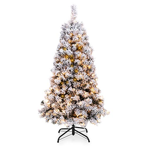 Best Choice Products 4.5ft Pre-Lit Snow Flocked Hinged Artificial Christmas Pine Tree Holiday Decor w/ 200 Warm White Lights