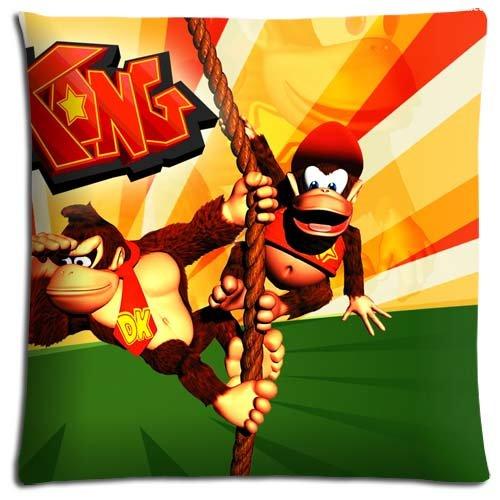 zippée hypoallergénique Donkey Kong Country Coton Polyester Décoration Parure de lit Taie d'oreiller 40,6 x 40,6 cm 40 x 40 cm