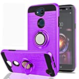 YmhxcY Phone Case Compatible with LG X Power 3.LG Fiesta 2 LTE/LG X Charge/LG X Power 2 with HD Screen Protector,360 Degree Rotating Ring Layer Shock Bumper Cover For LG LV7 2018-ZH Purple