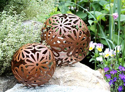 2er Set Gartenkugeln Deko Blume Metall Ornament BLÜTE