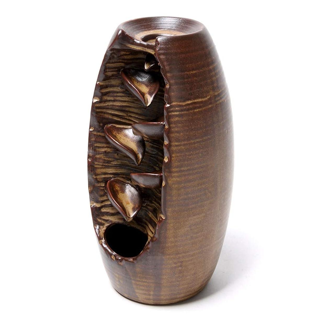 佐賀ガム処理するセラミック逆流香炉逆流香ホルダーホームセラミックオフィス香コーンホルダーバーナーアロマセラピー炉 (Color : Brown, サイズ : 3.54*8.07 inches)