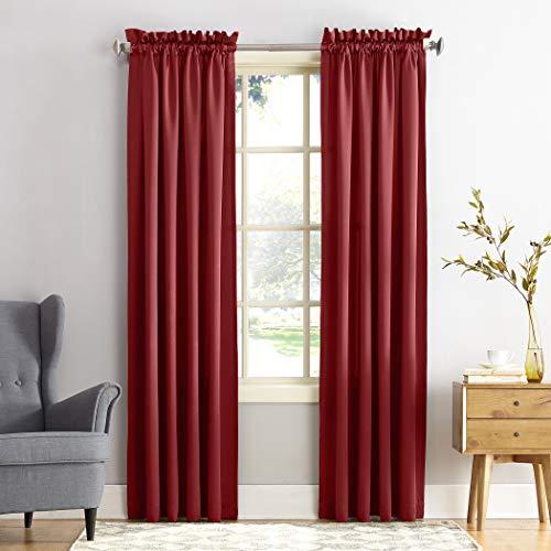 "Sun Zero Barrow Energy Efficient Rod Pocket Curtain Panel, 54"" x 84"", Brick Red, One Panel"