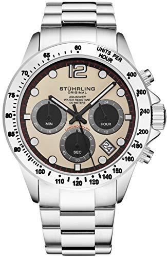 Stührling Original orologio cronografo da uomo, in acciaio INOX, con vite, corona e resistente all' acqua 100 m. quadrante analogico al quarzo Aquadiver Collection (Silver/Beige)
