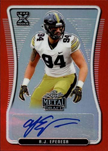 2020 Leaf Metal Draft Autograph Rainbow Prismatic Red Football S5#BA-AJE A.J. Epenesa Auto Iowa Hawkeyes Official Player Licensed Rookie Card