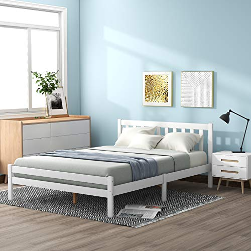 æ— Double Bed White Wooden Bed Frame Slatted Base and Headboard,4 x 6 ft Solid Pine Platform Bedstead Bedroom Furniture Frame for Adults,Kids,Teenagers,Fits for Double Size Mattress190 x 135cm
