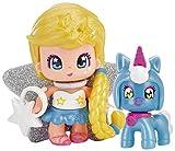 Pinypon- Figura estrella y mascota unicornio, colores azul y amarillo, efecto perlado...