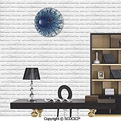 PUTIEN Wall Clock Silent & Non-Ticking Clock PVC Endless Tunnel with Fractal Square Shaped Segment Dimension for Home Office School Decorative Round 10
