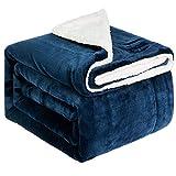 NEWSHONE Sherpa Throw Blanket Wool Blanket Flannel Fleece Throw Blanket for Sofa Couch Warm Cozy Microfiber Reversible Plush Soft Warm Fuzzy Throw(50x 60 inches, Navy)