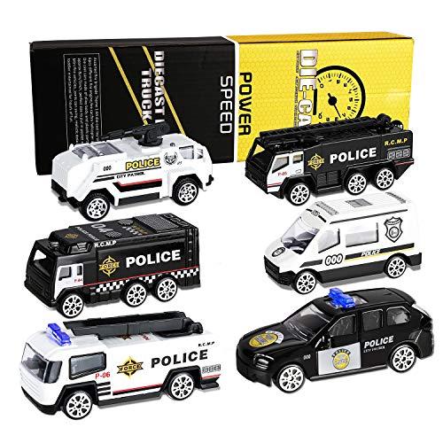 XDDIAS Coche de Policía de Juguete, 6 Pcs Aleación Modelo Camiones de Juguete, Diecast Vehículos de Policía Ambulancia Coche Patrulla Navidad Cumpleaños Regalo para Niños 3 Años
