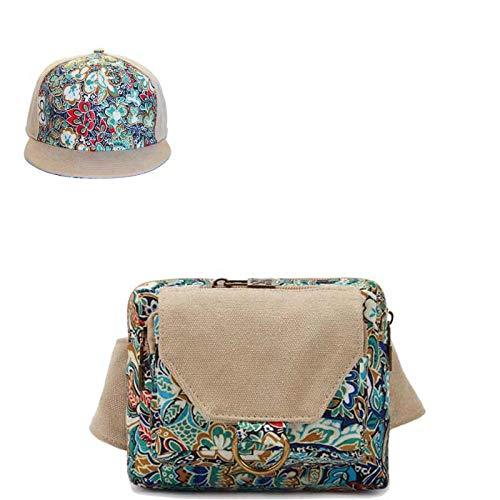 QOTS Gürteltasche, Diagonaltasche, Freizeitsporttasche, farbig bedruckte Minitasche, Damentasche -Blau + Hut