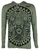 Sure Clothing Sure Herren Kapuzen Sweatshirt Das Allsehende Auge Psychedelic Art PSY Goa Gottes Party, XL, Olive Grün