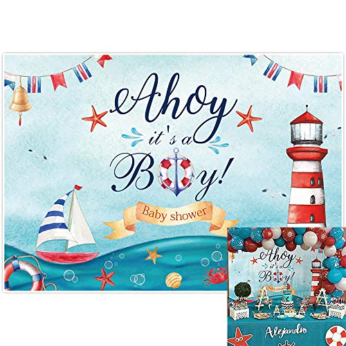Allenjoy Ahoy It's a Boy Nautical Baby Shower Backdrop Marine Theme Lighthouse Voyage Boat Life Ring Photography Background for Kids Boy Birthday Party Decor Banner 7x5ft Photo Studio Booth Props
